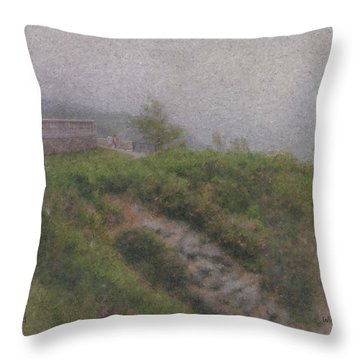Newport Cliff Walk In The Fog Throw Pillow