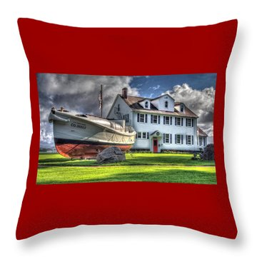 Newport Coast Guard Station Throw Pillow