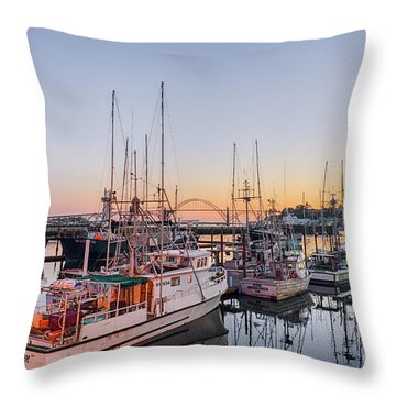 Newport Harbor At Dusk Throw Pillow