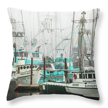 Newport, Oregon Fishing Fleet Throw Pillow by Jerry Fornarotto