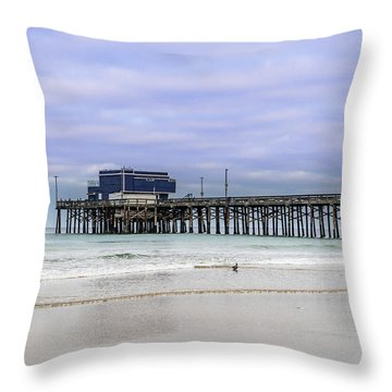 Throw Pillow featuring the photograph Newport Pier by Jeremy Farnsworth
