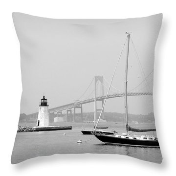 Newport, Rhode Island Serene Harbor Scene Throw Pillow