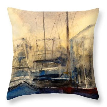 Newport Shipyard At Dusk Throw Pillow