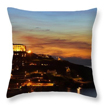 Newquay Harbor At Night Throw Pillow by Nicholas Burningham