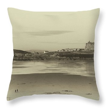 Throw Pillow featuring the photograph Newquay With Old Watercolor Effect  by Nicholas Burningham