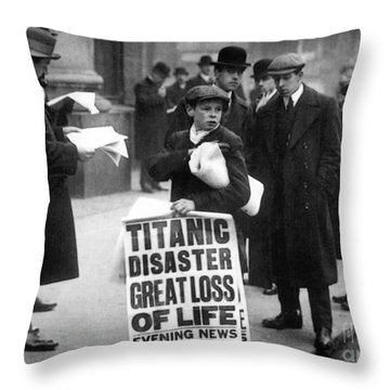 Newsboy Ned Parfett Announcing The Sinking Of The Titanic Throw Pillow by English School