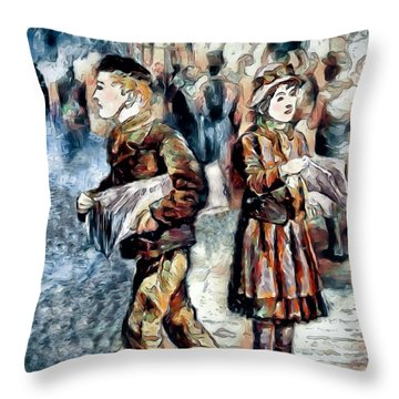 Throw Pillow featuring the digital art Newsboy by Pennie McCracken