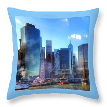 Nyc Skyline Reflections Throw Pillow