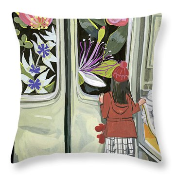 Next Stop Spring Throw Pillow