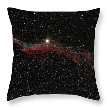 Ngc 6960, The Western Veil Nebula Throw Pillow by Rolf Geissinger