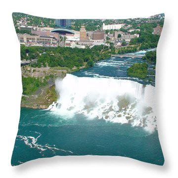 Throw Pillow featuring the photograph Niagara American And Bridal Veil Falls  by Charles Kraus