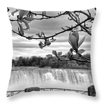 Niagara American Falls Spring Throw Pillow by Charline Xia