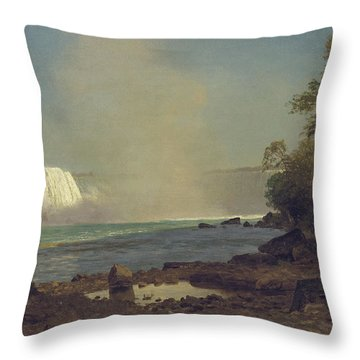 Niagara Falls Throw Pillow by Albert Bierstadt