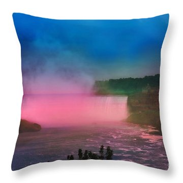 Niagara Falls At Night Throw Pillow