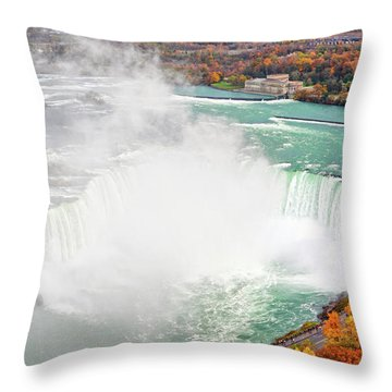Niagara Falls Autumn Throw Pillow by Charline Xia