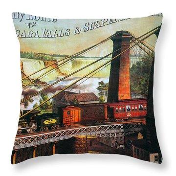 Niagara Falls Bridge, 1876 Throw Pillow by Granger