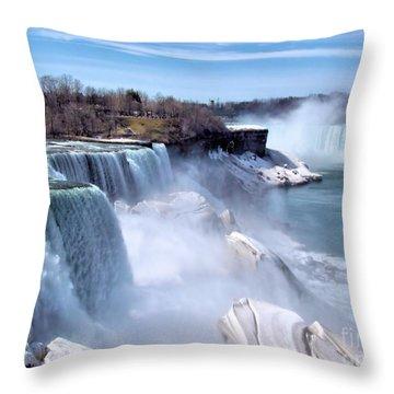 Niagara Falls Throw Pillow by Elizabeth Dow