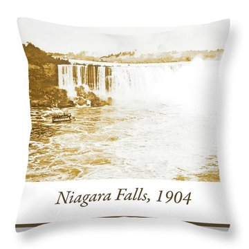 Throw Pillow featuring the photograph Niagara Falls Ferry Boat 1904 Vintage Photograph by A Gurmankin