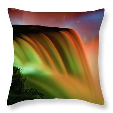 Niagara Falls Illumination Of Lights At Night Throw Pillow by Charline Xia