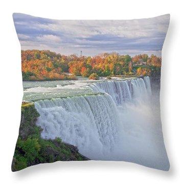 Niagara Falls In Autumn Throw Pillow