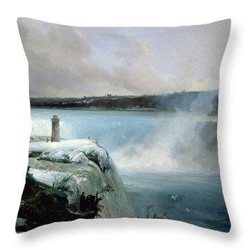 Niagara Falls Throw Pillow by Jean Charles Joseph Remond
