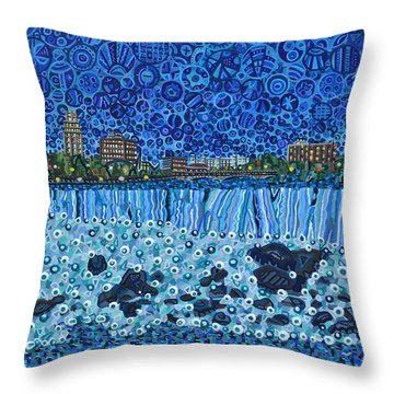 Niagara Falls - Night Throw Pillow by Micah Mullen