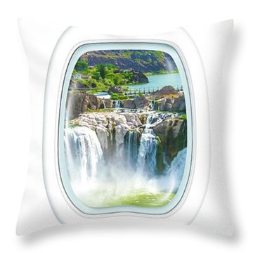 Niagara Falls Porthole Windows Throw Pillow