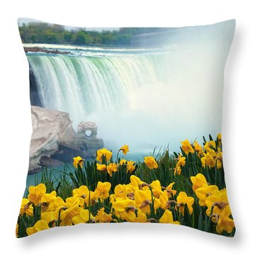 Niagara Falls Spring Flowers And Melting Ice Throw Pillow by Charline Xia