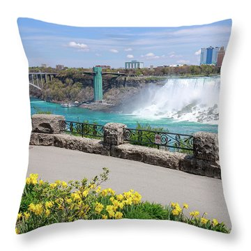 Niagara Falls Spring Time Throw Pillow by Charline Xia