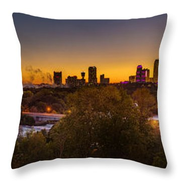 Niagara Falls Twilight From The 9th Floor Throw Pillow by Chris Bordeleau