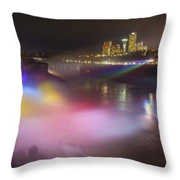 Throw Pillow featuring the photograph Niagara Rainbow by Mark Papke