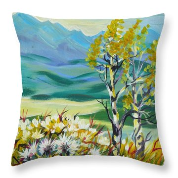 Throw Pillow featuring the painting Nice Autumn Day by Anna  Duyunova