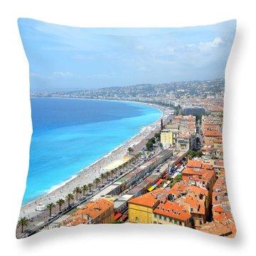 Nice France Coastline Throw Pillow by Corinne Rhode