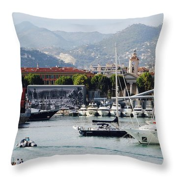 Throw Pillow featuring the photograph Nice Harbour Life by Rasma Bertz