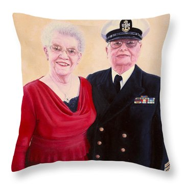 Throw Pillow featuring the painting Nichols Portrait by Mike Ivey