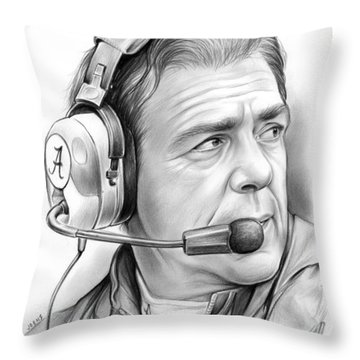 Nick Saban Throw Pillow