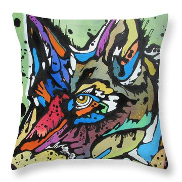 Nico The Coyote Throw Pillow