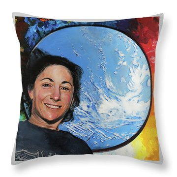 Nicole Stott Throw Pillow by Simon Kregar