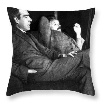 Niels Bohr And Albert Einstein Throw Pillow