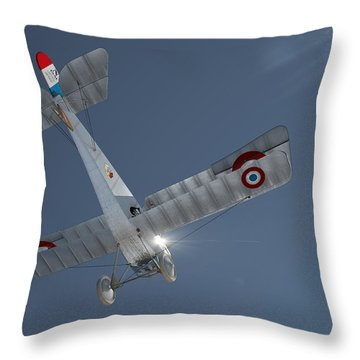 Nieuport 17 In The Blue Sky Throw Pillow by David Collins