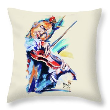 Nigel Kennedy Throw Pillow by Melanie D