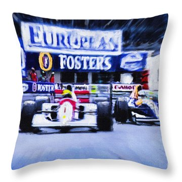 Nigel Mansell V Ayrton Senna  Throw Pillow