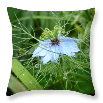 Nigella In Spring Rain Throw Pillow
