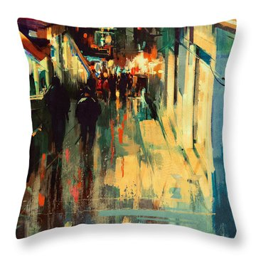 Night Alleyway Throw Pillow