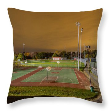Night At The High School Basketball Court Throw Pillow