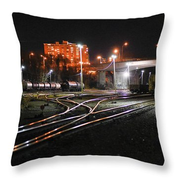 Night At The Railyard Throw Pillow