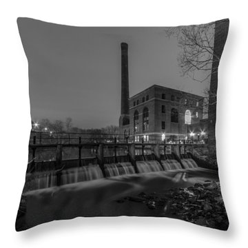Night At The River 2 In Black And White Throw Pillow
