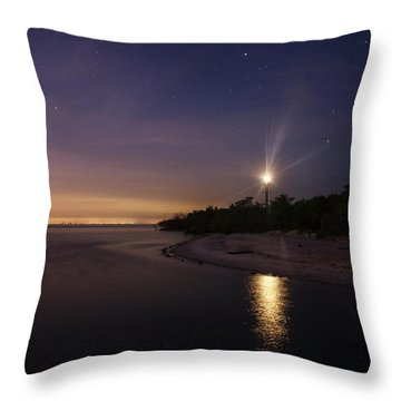 Night At The Sanibel Lighthouse Throw Pillow