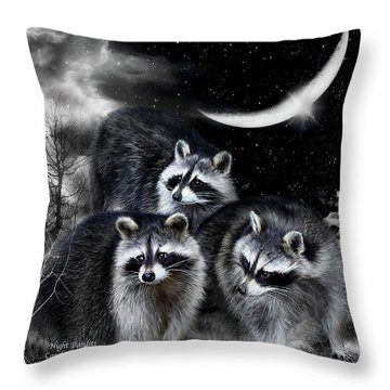 Night Bandits Throw Pillow