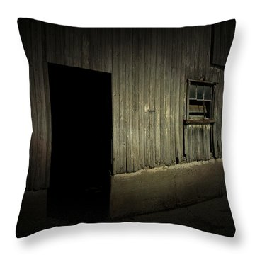 Night Barn Throw Pillow by Cynthia Lassiter